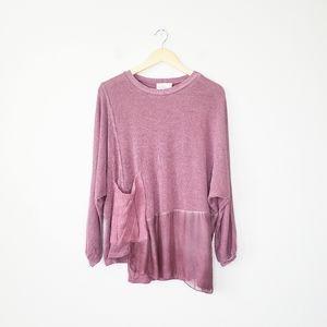Belle France Silk Blend Dolman Sleeve Knit Shimmer Sweater Top Large